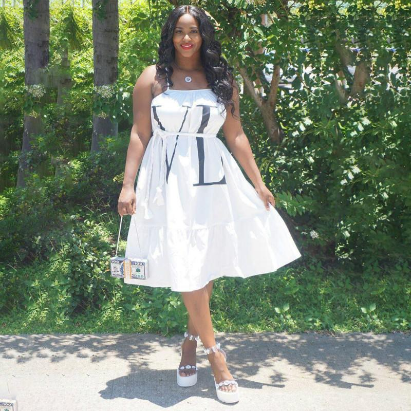 Letter Loose Casual Midi Dress