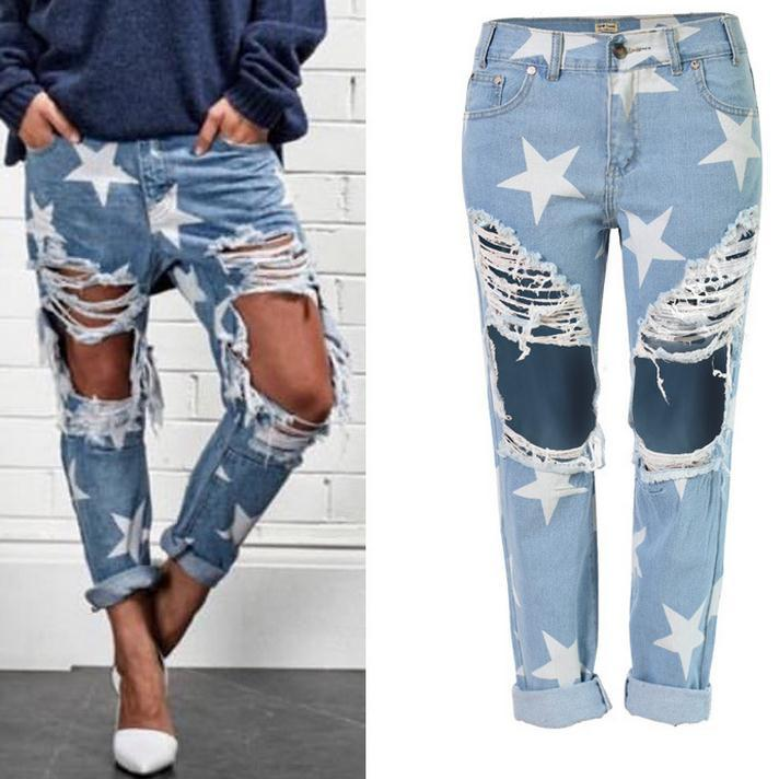Rough Edges Low Waist Fashion Star Printed Ripped Denim Shorts - Meet Yours Fashion - 1