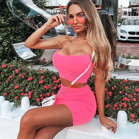 Fashion Spaghetti Straps Crop Top High Waist Short Skirt Set