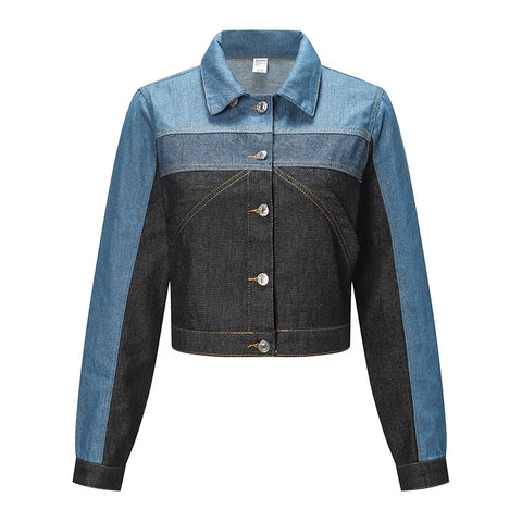 Colorblock Cropped Denim Jacket