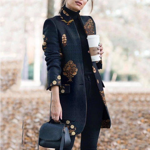 Notched Collar Print Wool Coat