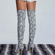 Party Snakeskin Leather High Heel Over Knee Boots