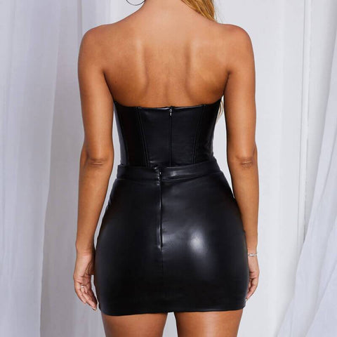 Sweetheart Leather Bodycon Dress