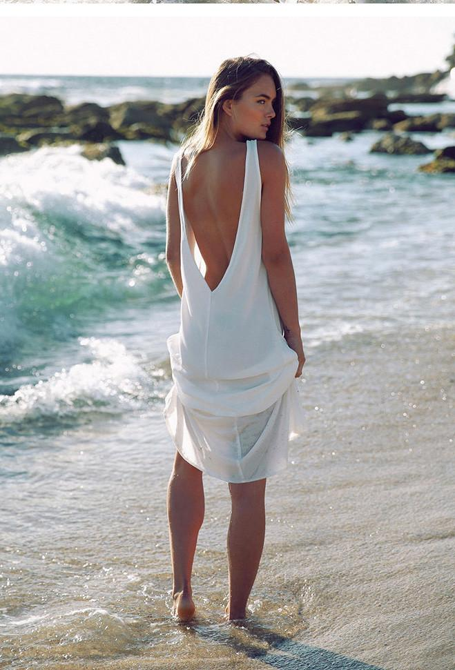 Scoop Sleeveless Beach Backless Sexy Long Dress