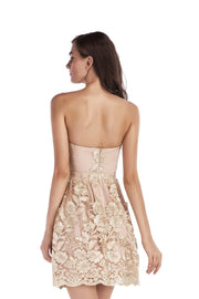 Lace Pure Color Sleeveless Strapless Short Dress