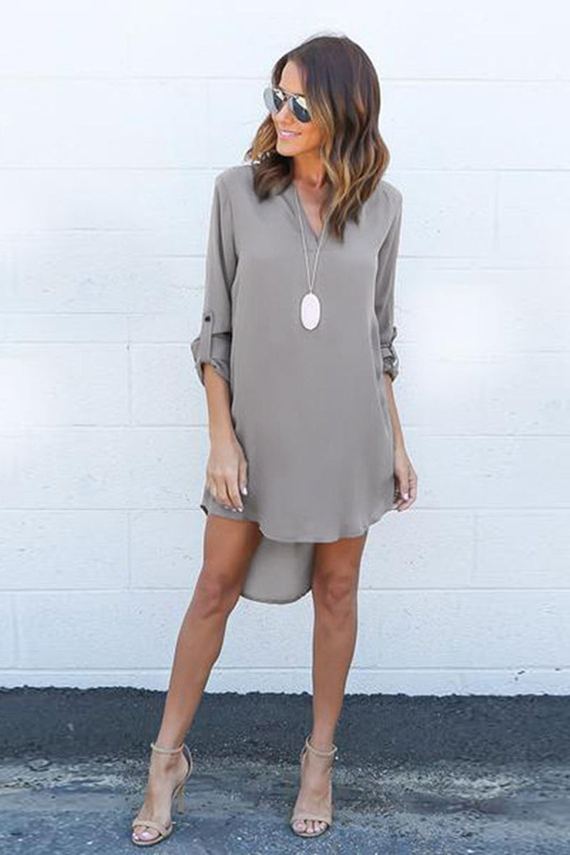 Simple Long Sleeves V-neck Pure Color Short Dress