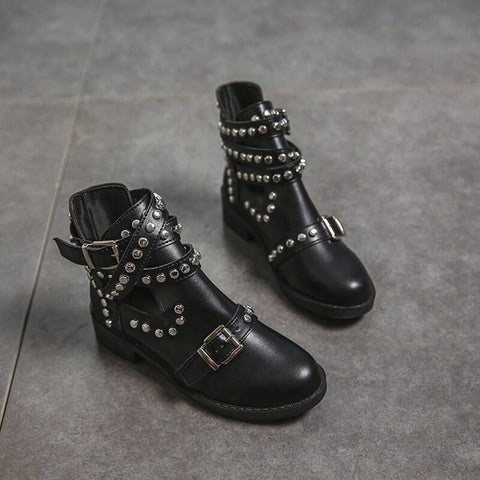 Black Leather Rivet Martin Ankle Boots