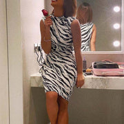 Zebra Print Turtleneck Sleeveless Short Dress