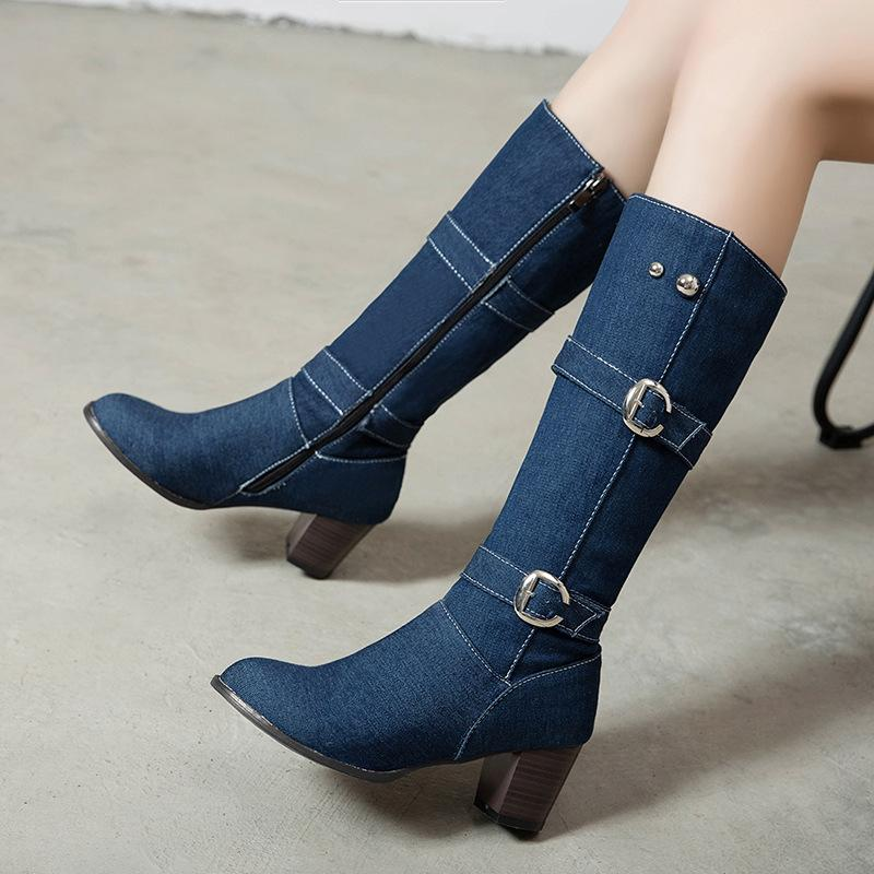 Fabric High Chunky Heel Knee High Boots