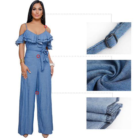 Blue Ruffled Spaghetti Strap Wide Jumpsuit