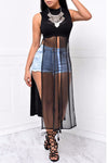 Splicing Pure Color Mesh Patchwork Split Long Dress