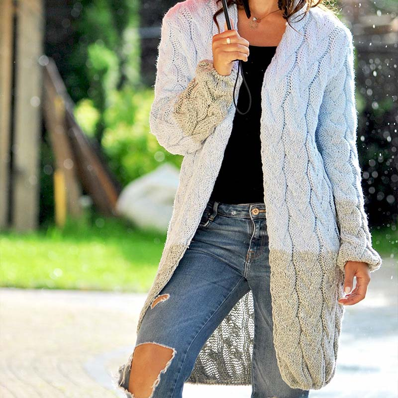 Colorblock Thick Cable Knitted Oversized Cardigan