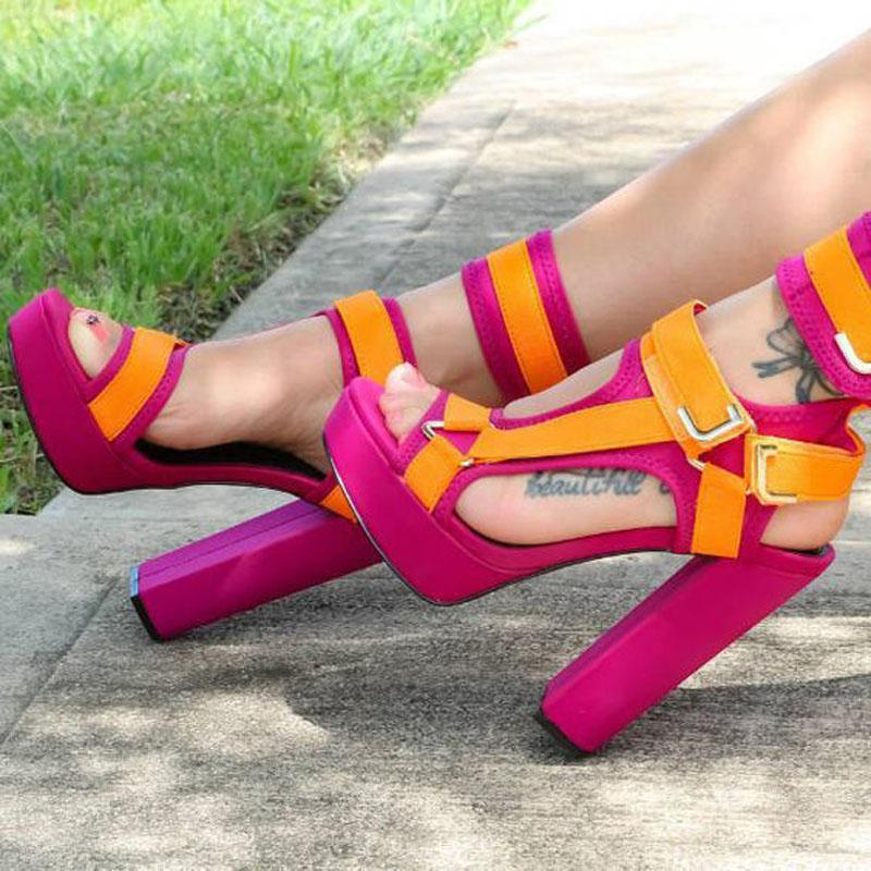 Fashion Colorblock Buckles Platform Chunky Heel Sandals