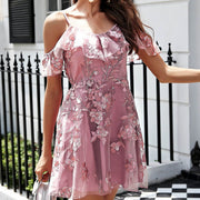 Strap Ruffle Embroidered Short Dress