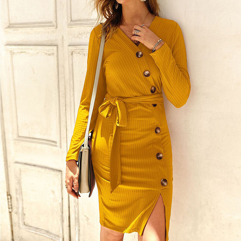 Slim Ribbed Tie Waist Midi Dress