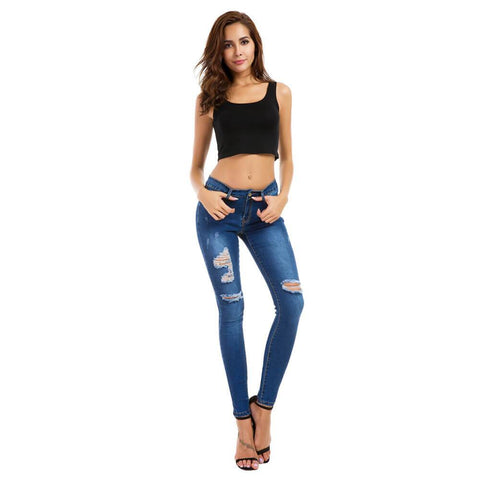 Summer Plus Size Stretch Ripped Skinny Denim Pants