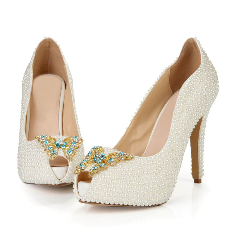 White Heel Wedding Bow Peep Toe Sandals