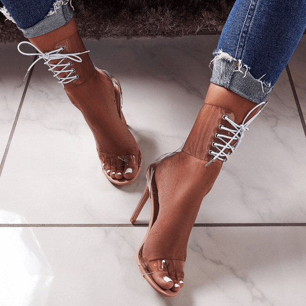 Clear Ankle Strappy High Heels Sandals