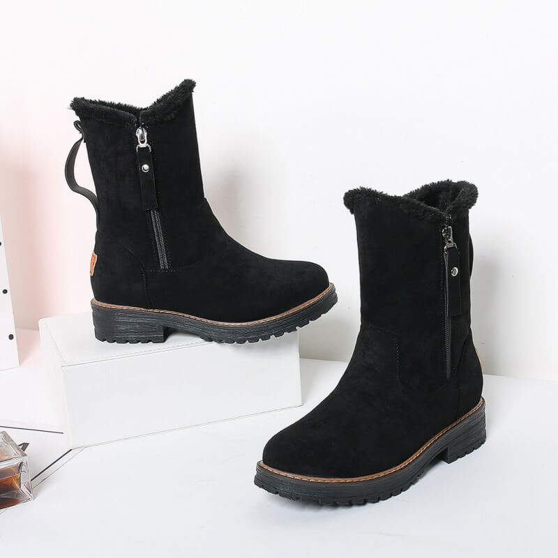 Snow Round Toe Zipper Low Heel Fur Boots
