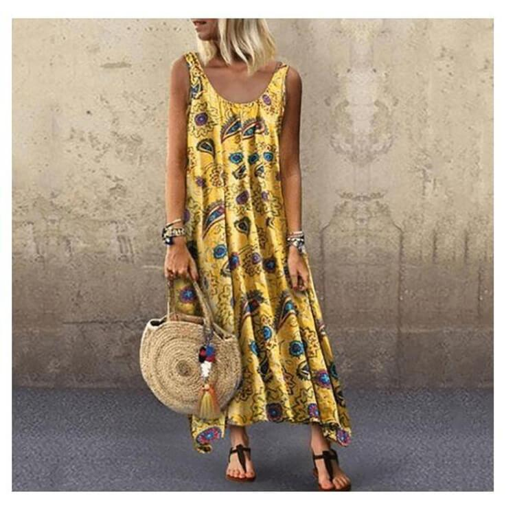 Printed Sleeveless Large Hem Plus Size Long Dress