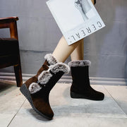 Wedge Flat Suede Fur Buckle Mid Calf Boots