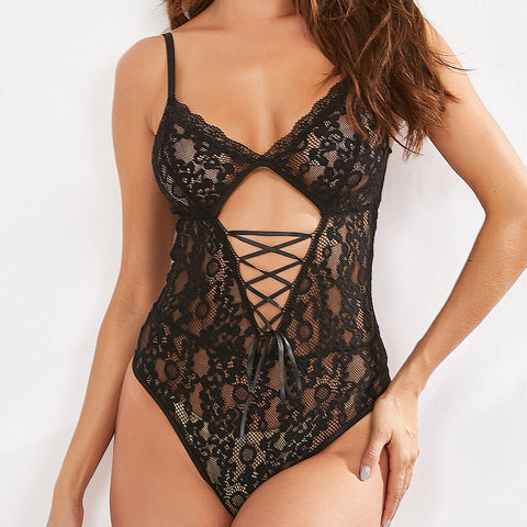 Black Lace Sheer Sleeveless Bodysuits