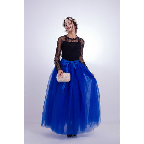 Tulle High Waist Pure Color Loose Swing Long Prom Party Skirt