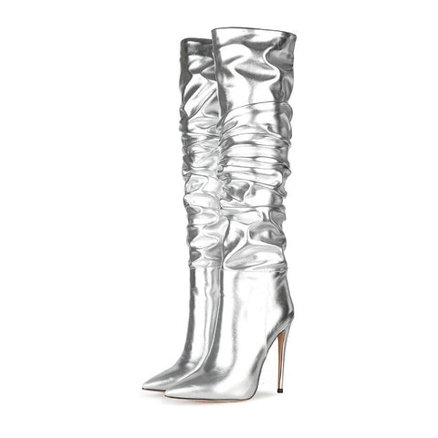 Fashion PU Point Toe Fold High Heel Knee High Boots