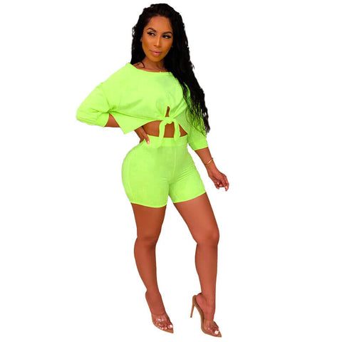 Bow Crop Top Slim Shorts Set