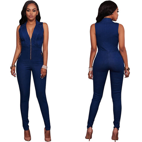 Denim Blue Sleeveless Skinny Jumpsuit