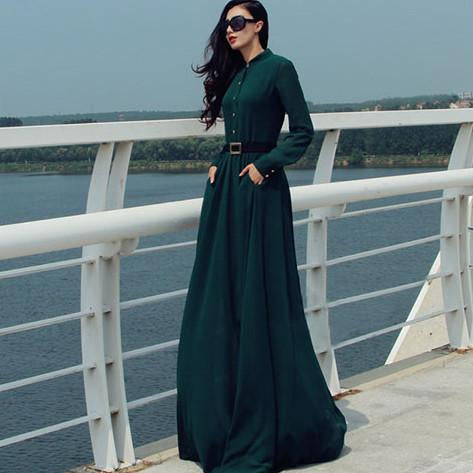 Long Sleeves Chiffon Button Decorate Pleat Long Maxi Dress - Shoes-Party - 1