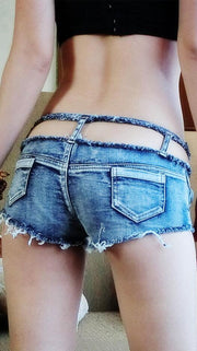 Hollow Out Low Waist Denim Women's Shorts