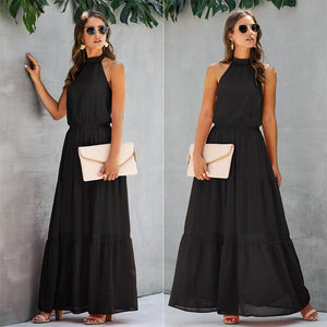 Open Back Halter A Line Long Dress