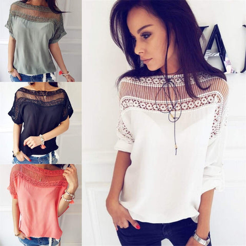 Scoop Pure Color Perspective Short Sleeves T-shirt