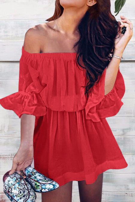 Off Shoulder Trumpet Half Sleeves Pure Color Short Dress