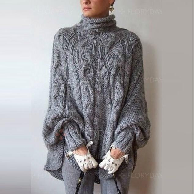 Turtleneck Cable Knit Long Batwing Sleeves Irregular Oversized Cloak Pullover Sweater