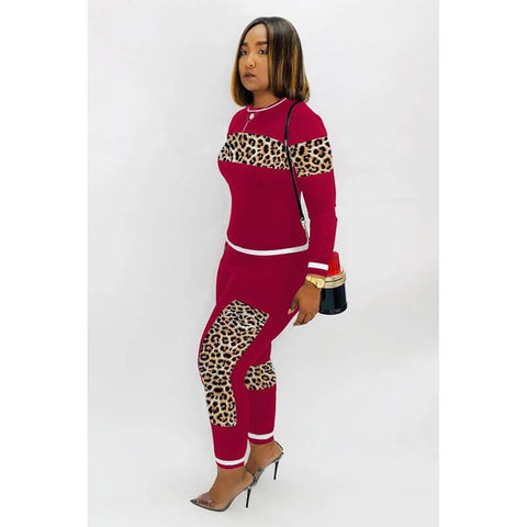Patchwork Crop Top Leopard Pencil Pants Set
