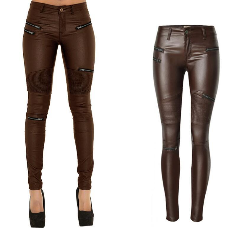 Low Waist Zippers Decoration Long Slim PU Pants