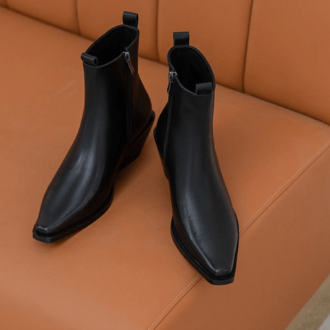 Black Leather Square Toe Wedge Ankle Boots