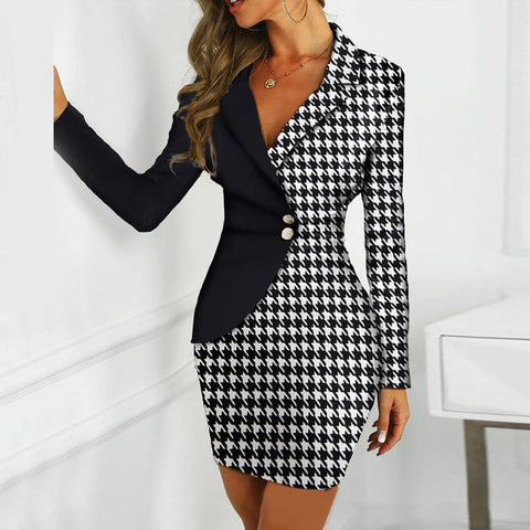 V Neck Patchwork Blazer Dress
