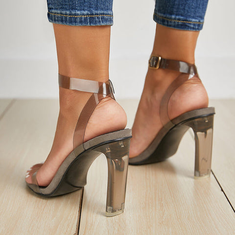 Leather Chunky Heel Buckle Sandals