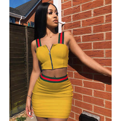7f4b38da4 Straps Front Zipper Crop Top with High Waist Bodycon Short Skirt Two Pieces  Dress Set Outfits