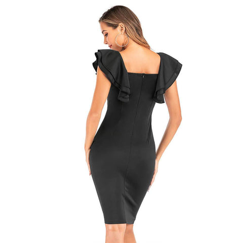 Butterfly Sleeve Midi Bodycon Dress