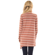 Open Front Striped Knit Cardigan
