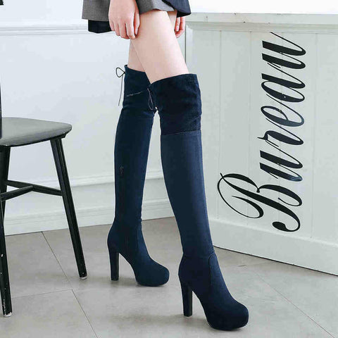Winter Platform Suede High Heel Over Knee Boots
