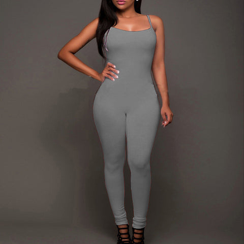 Sexy Stretch Spaghetti Strap Bodycon Skinny Jumpsuits
