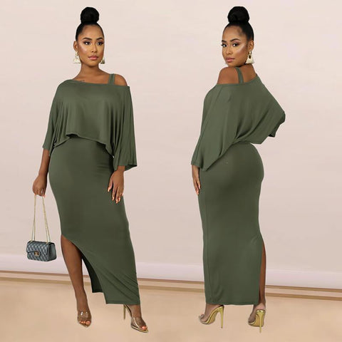 One Shoulder T-shirts High Waist MAXI Skirt Set