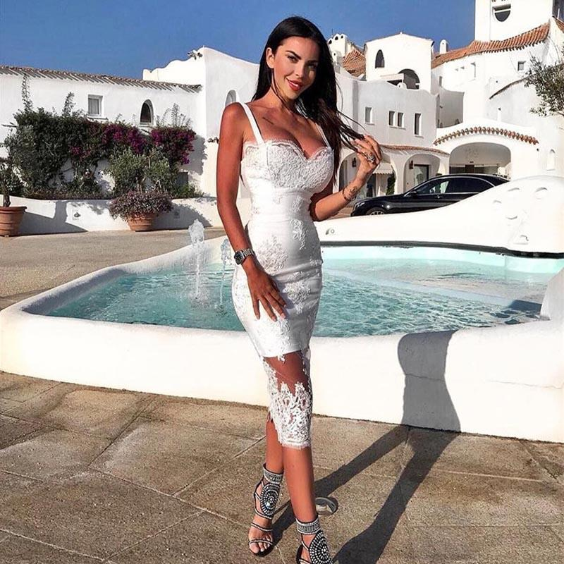 Mesh Patchwork Lace White Tight Midi Dress