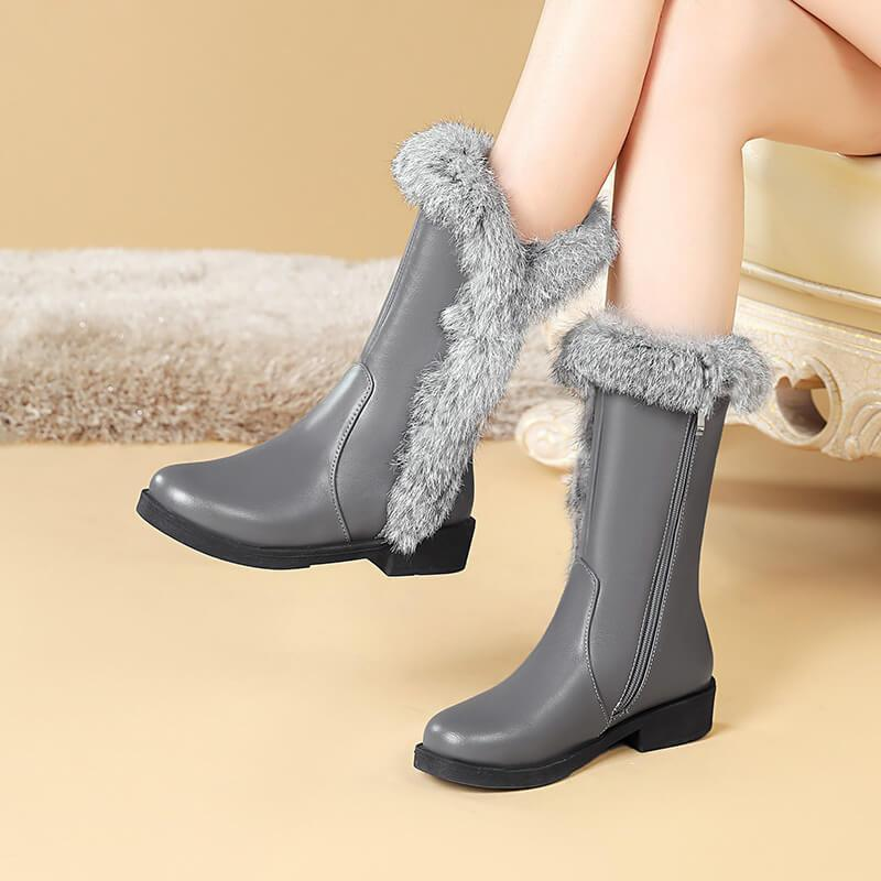 Fur Low Heel Leather Mid Calf Boots