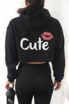 Back Letter Print Lip Drawstring Hooded Crop Top Short Hoodie
